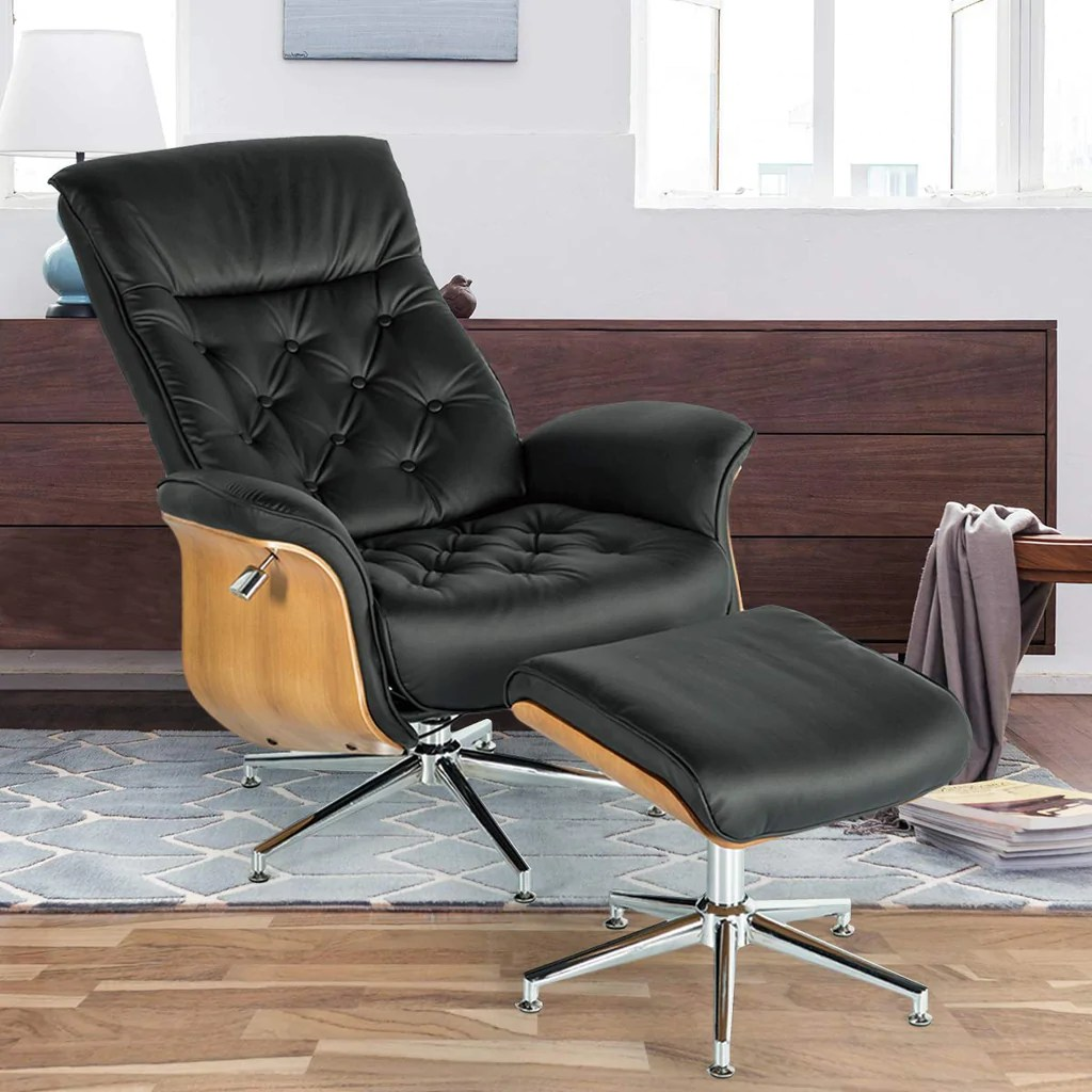 Homhum Lounge Chair Mid Century Pu Leather Chaise Lounge With Ottoman Set Adjustable Backrest Armchair Foot Stool For Living Room Office Chair Home