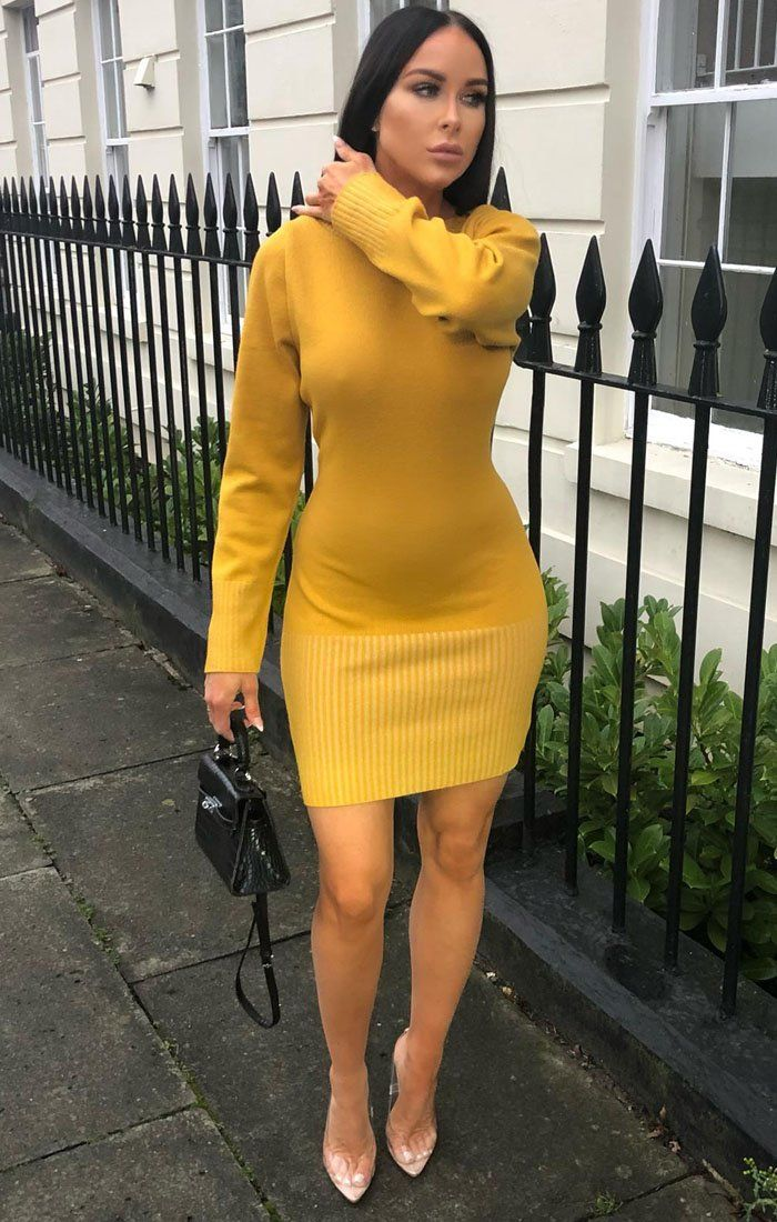 Mustard Ribbed Knit Bodycon Dress