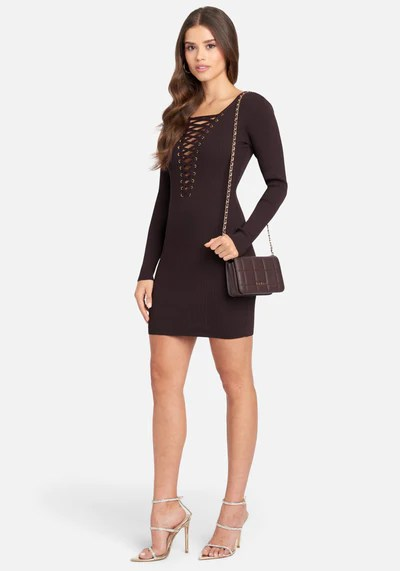 Plunge Neck Lace Up Sweater Dress