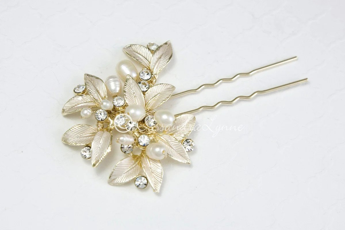 Fall Wedding Hair Pin Of Leaves And Pearls Cassandra Lynne