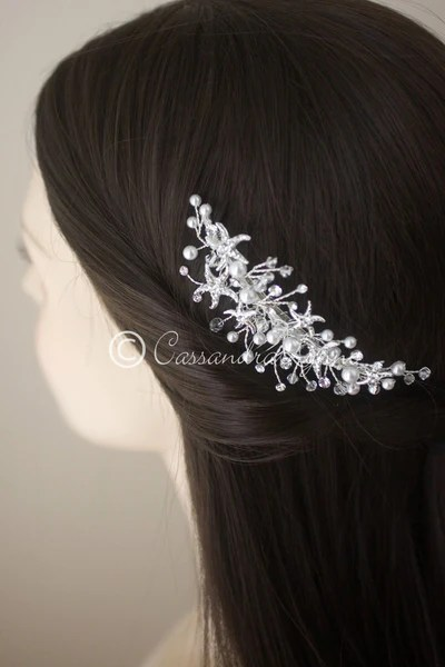 Beach Wedding Hair Comb With Starfish And Freshwater