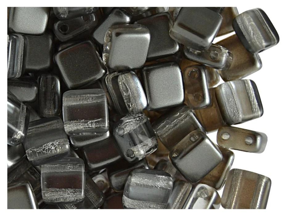 40 pcs 2 hole tile beads 6x6x3 2mm pearl hematite gray czech glas scarabeads us