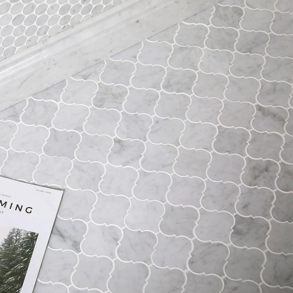 carrara white bianco carrera marble 3 x 3 arabesque polished mosaic tile pack of 5