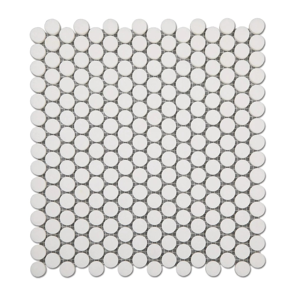 thassos white marble 3 4 inch penny round mosaic tile pack of 5