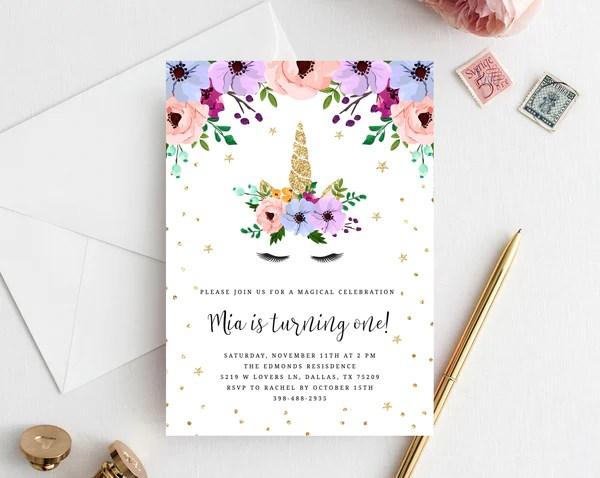 unicorn birthday invitation template printable unicorn themed party invitation floral unicorn invitation editable templett