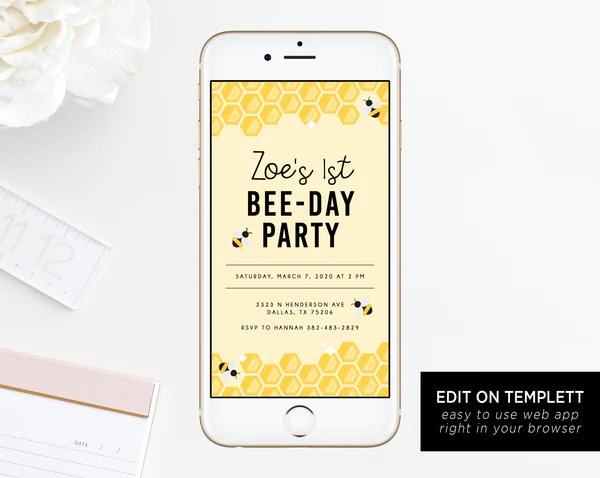 bee day electronic invitation template bumble bee birthday mobile invite honeycomb birthday phone invitation instant download templett