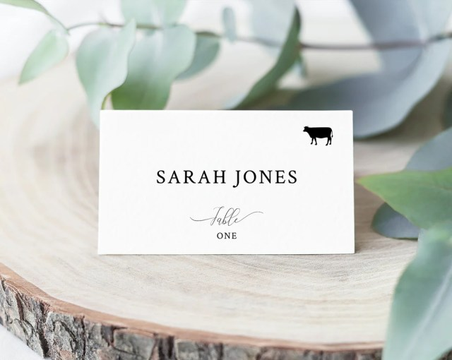Wedding Place Cards Template With Meal Choice Selection, Seating Card,  Wedding Table Cards, Printable, Instant Download, Templett, W27