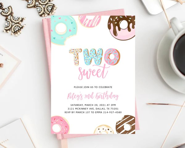 two sweet birthday invitation template donut 2nd birthday party invitation printable donut themed invite instant download templett