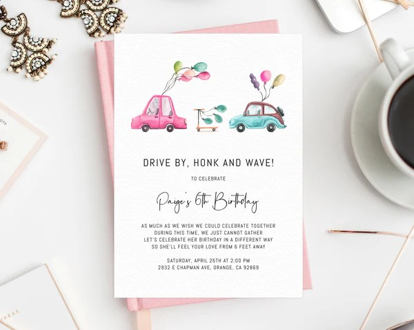 drive by birthday parade invitation printable drive by celebration invite social distancing digital file instant download templett
