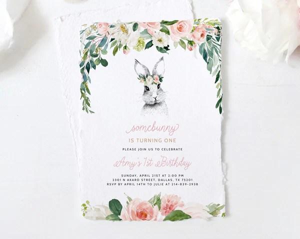 bunny birthday invitation template printable bunny 1st birthday invitations spring first birthday invite instant download templett