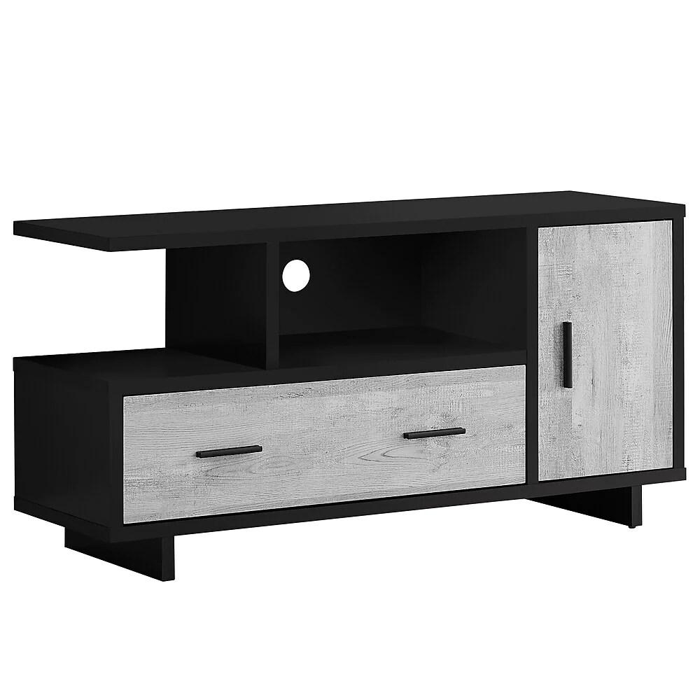 monarch specialties i 2804 meuble tv 48 l noir faux bois gris rangement