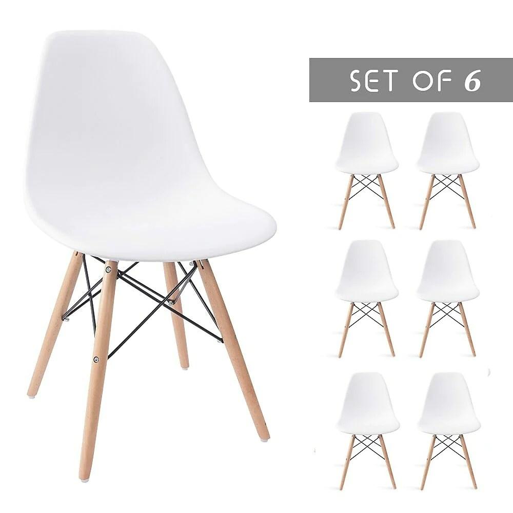 zipdecor chaise de table a manger eames style eiffel avec pattes en bois naturel ensemble de 6 blanc