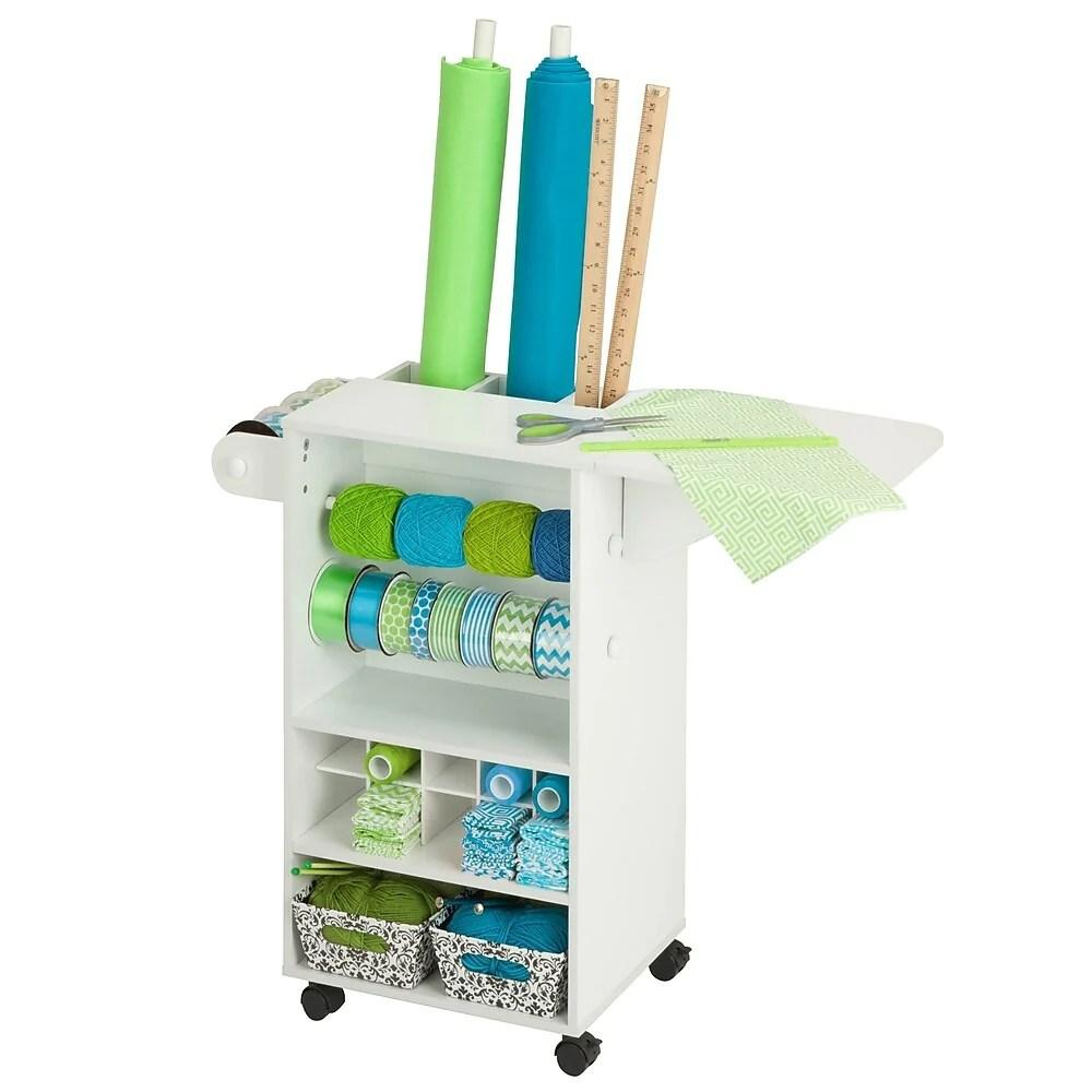 honey can do craft chariot de rangement a roulettes pour materiel d artisanat blanc crt 06343