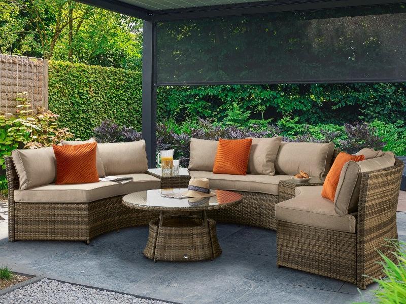 signature weave juliet half moon sofa set