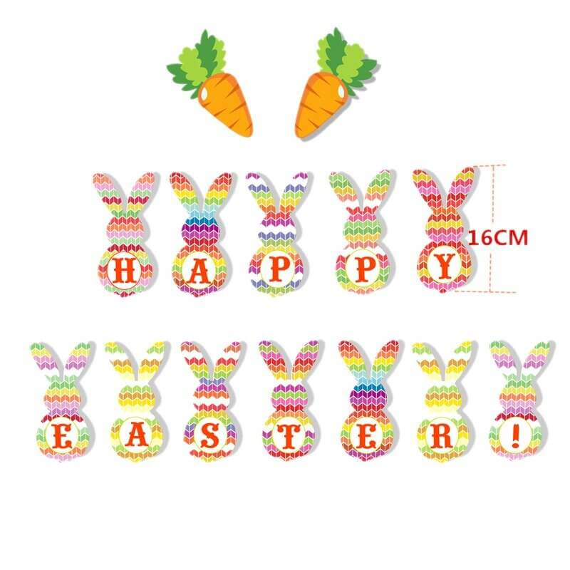 14pcs Happy Easter Bunny Rabbit Paper Banner Bunting Online Party Supplies