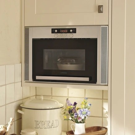 hja7030 a lamona silver and black integrated wall mounted microwave 60cm