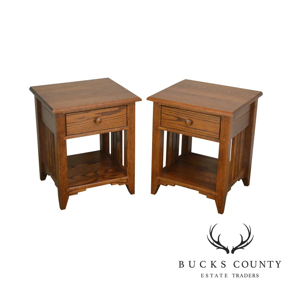 Mission Style Solid Oak Custom Quality Pair One Drawer Nightstands