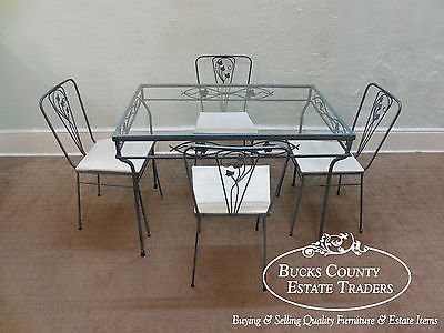 vintage wrought iron 5 piece patio table chairs dining set