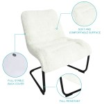 Zenree Comfortable Padded Reading Chair Bedroom Vanity Lounge White