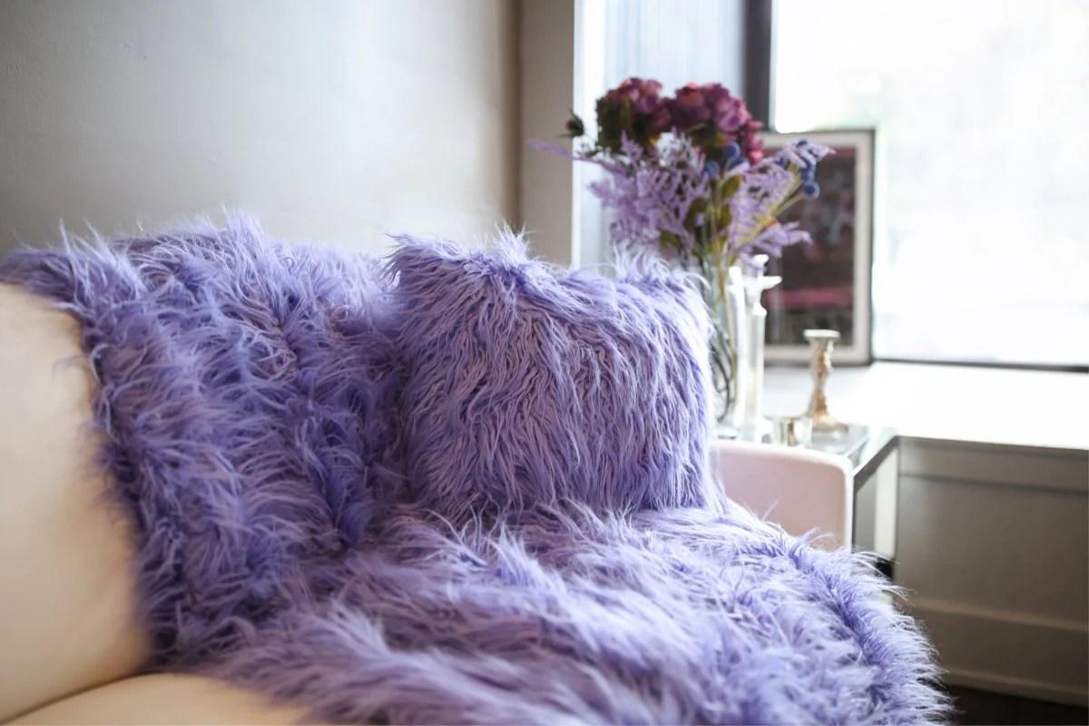 purple faux fur pillow throw 2 piece set aster