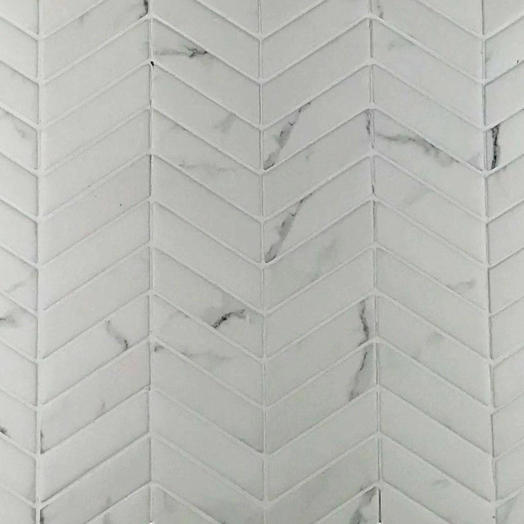 calacatta chevron glass recycled sintered glass white 3 4 x 2 1 4
