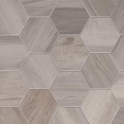 hexagon king white plain 8 wood look tile