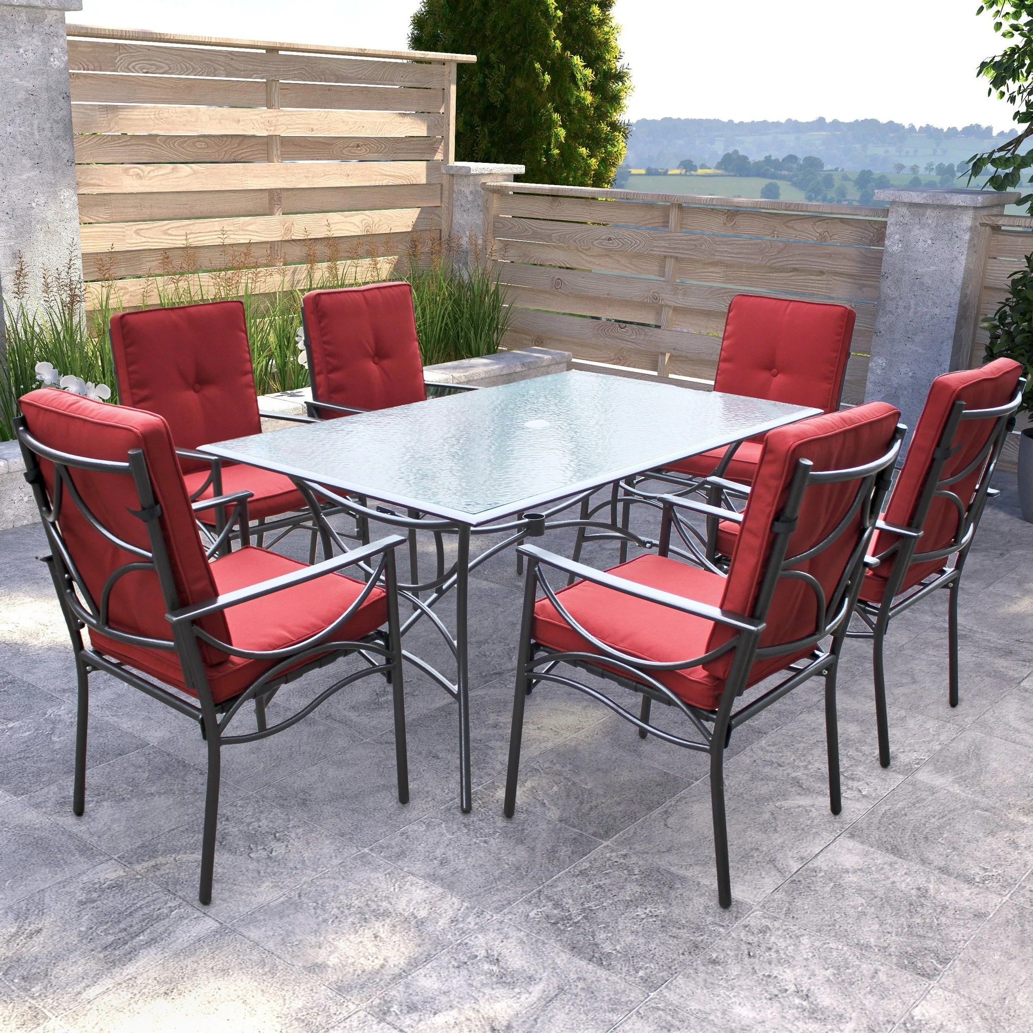 charcoal black and red patio dining set 7pc clearance final sale