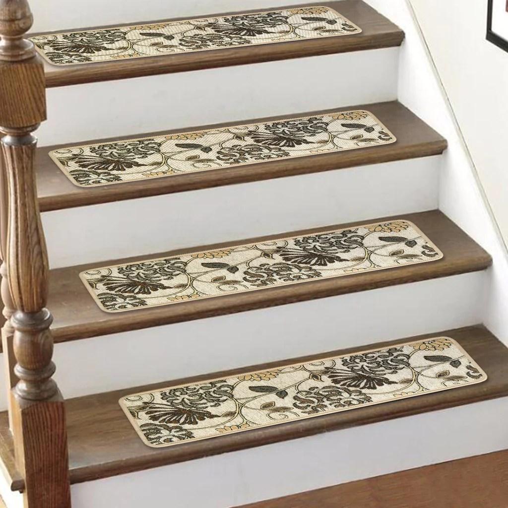 Seloom Carpet Stair Treads Non Slip Set Of 13 Indoor Skid Resistant St   Soloom Carpet Stair Treads   Blended Jacquard   Amazon   Beige   Mat   Flooring
