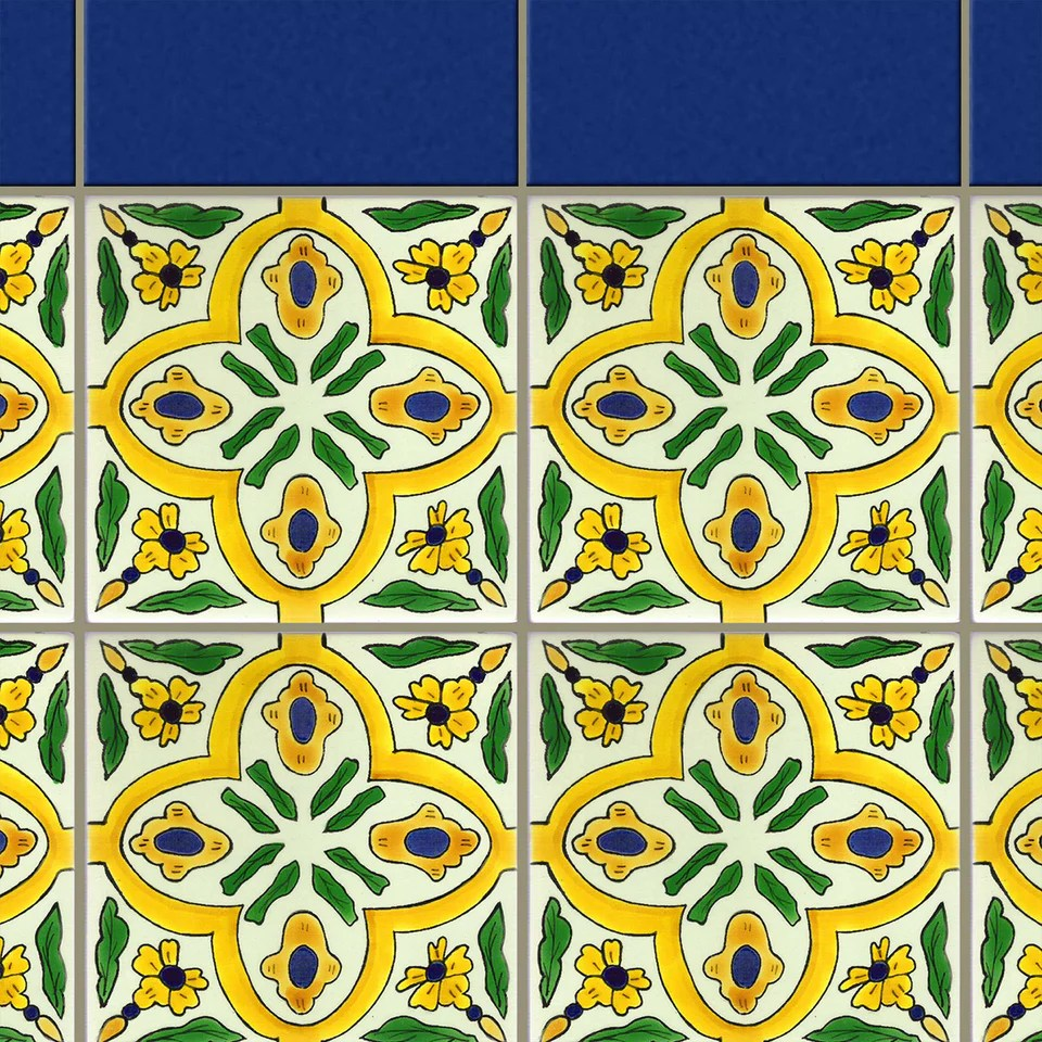 green spanish tile with blue border