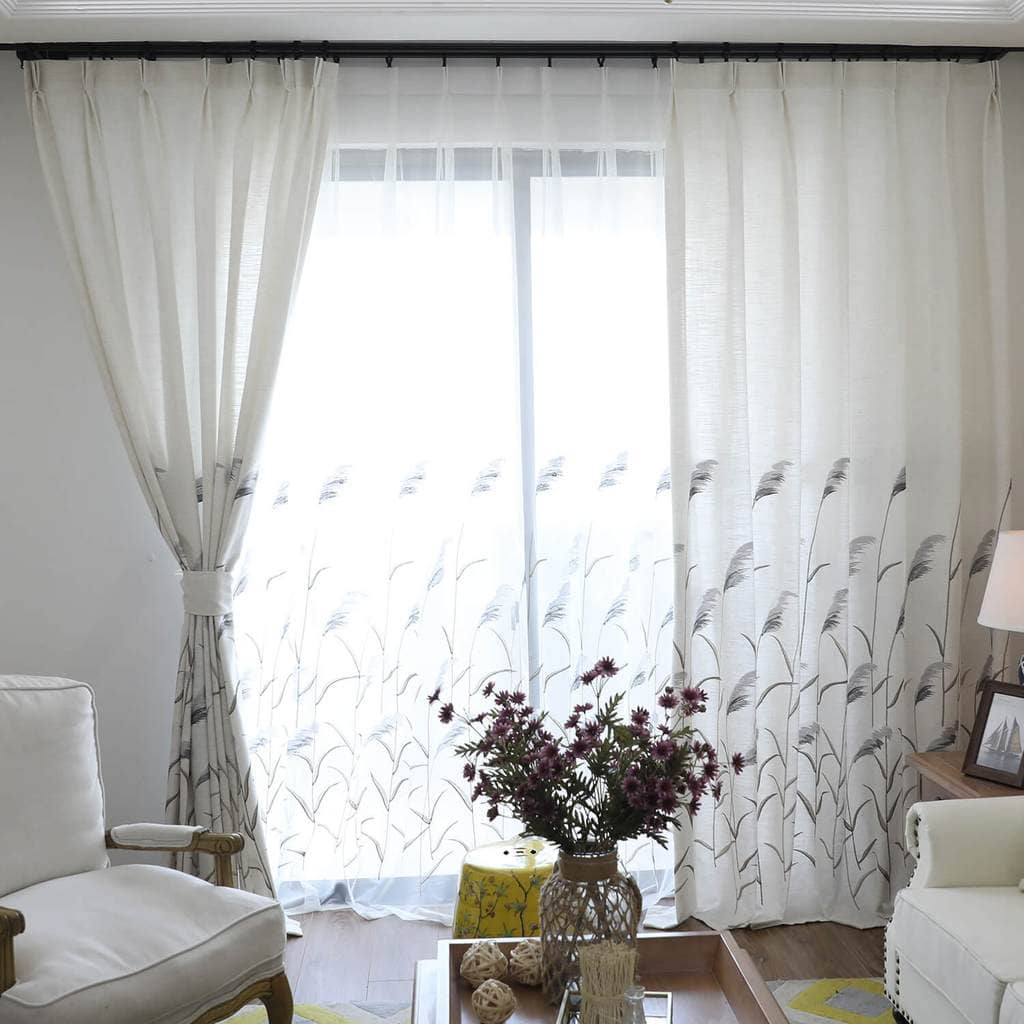 reed country curtains cotton linen drapes for bedroom 1 set of 2 panels