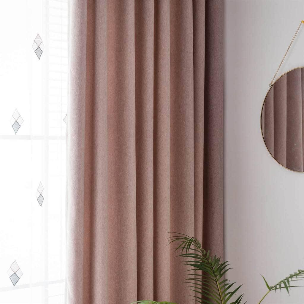 pink cotton linen soft curtains rose quartz drapes for bedroom 1 set of 2 panels