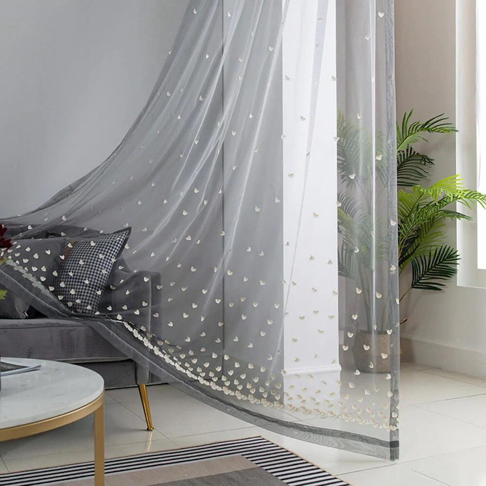 grey embroidered sheer curtains heart pattern window sheers
