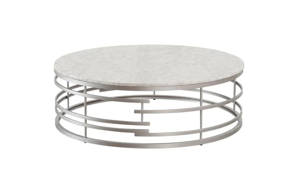 noble silver large round cocktail table with faux marble top