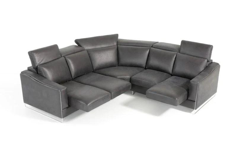 ethan modern black leather sectional sofa