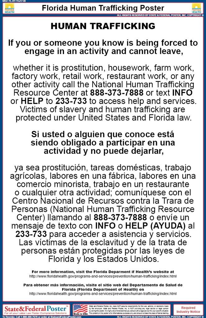 florida human trafficking poster bilingual