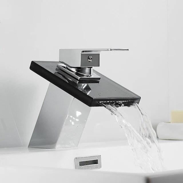 glass waterfall brass basin faucet bathroom waterfall faucet bathroom mixer tap deck mounted basin sink mixer tap
