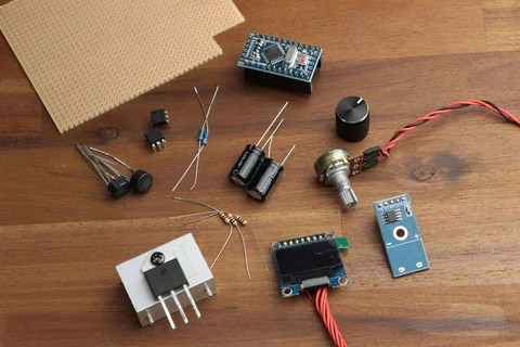 The parts required to build a DIY soldering station.