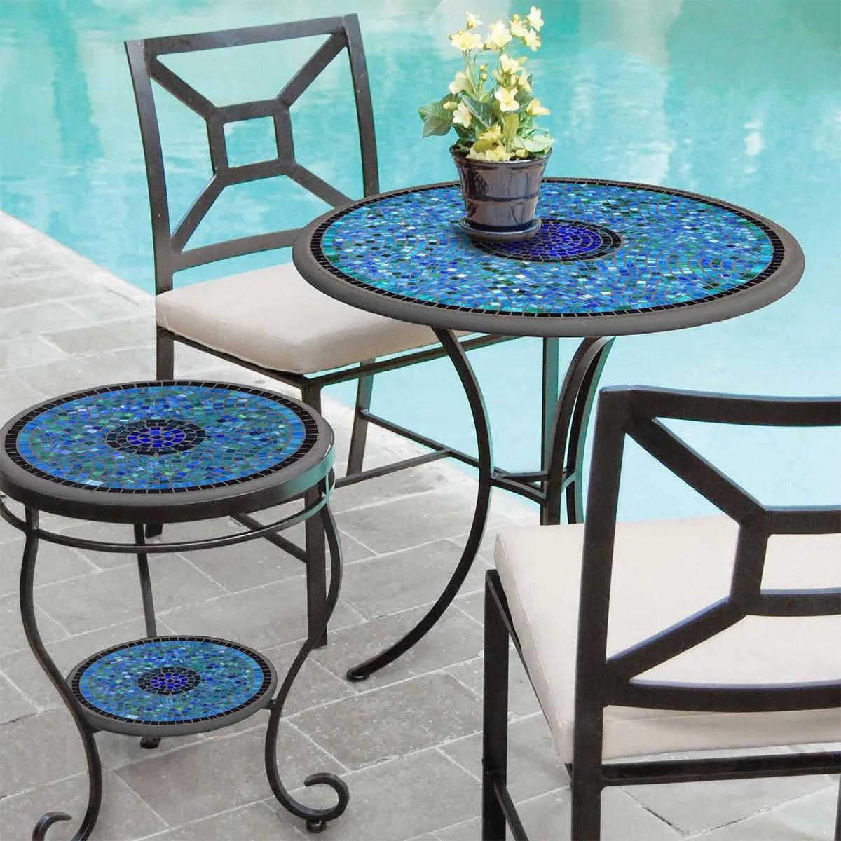 patio table 24 30 aluminum mosaic create a set