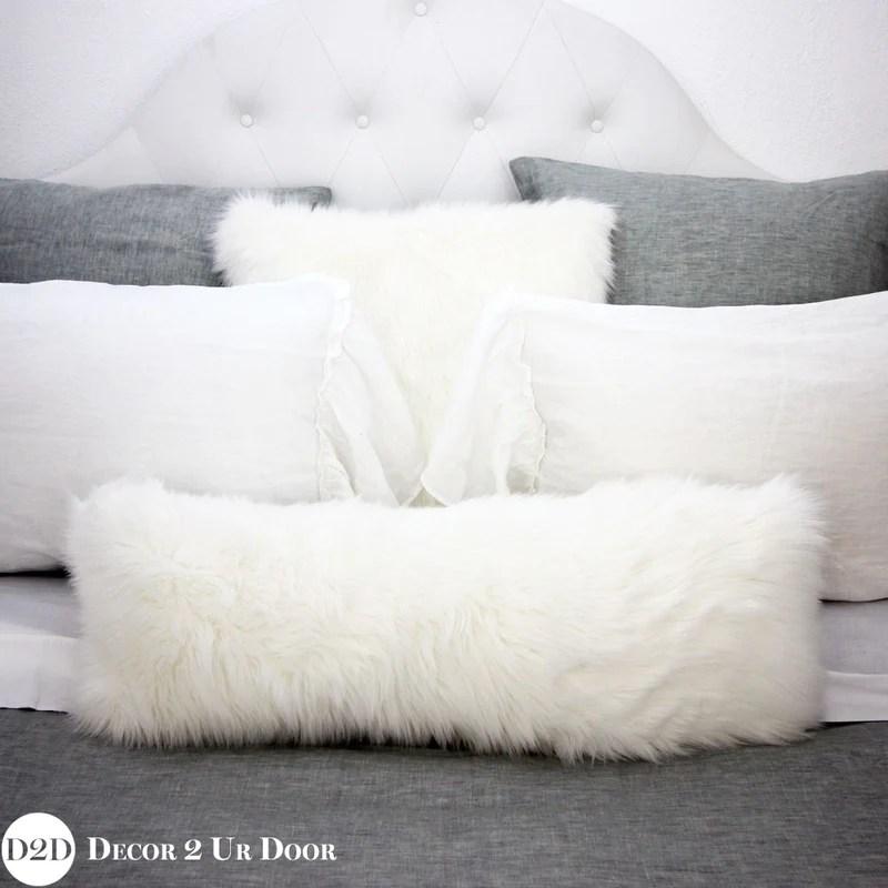 white faux fur long lumbar pillow cover