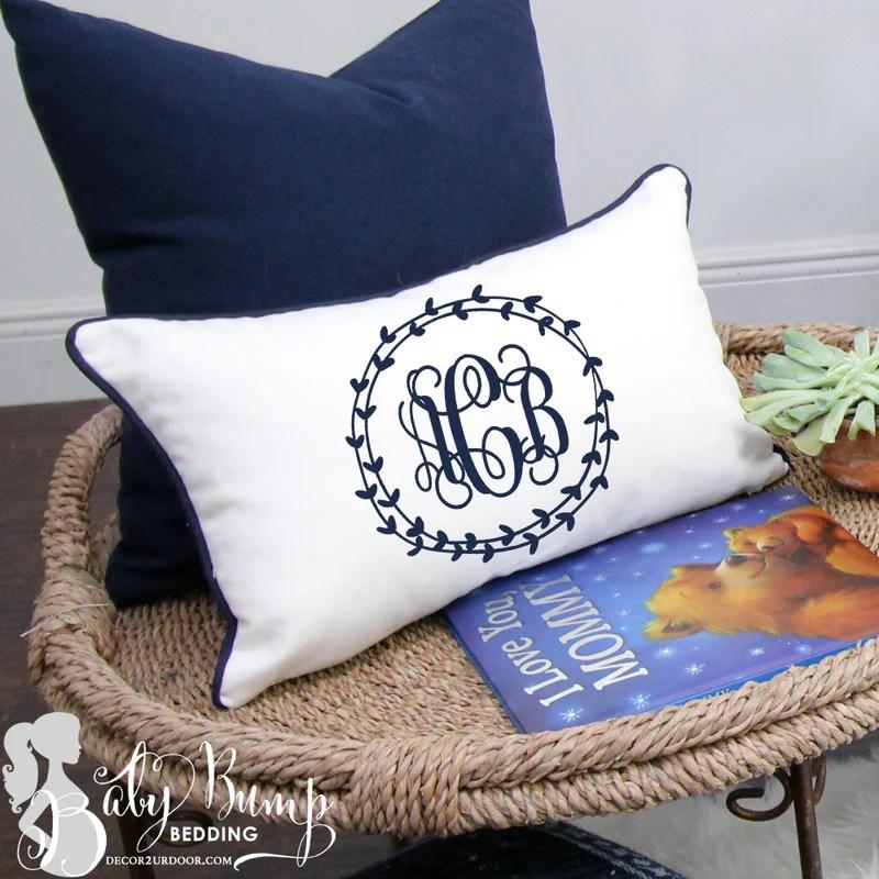 solid white navy trim lumbar nursery throw pillow cover