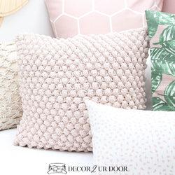 blush crochet dot pom pom square pillow cover