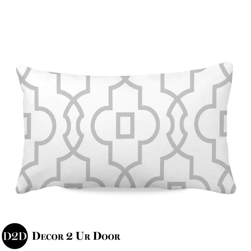 grey white lumbar nursery throw pillow cover