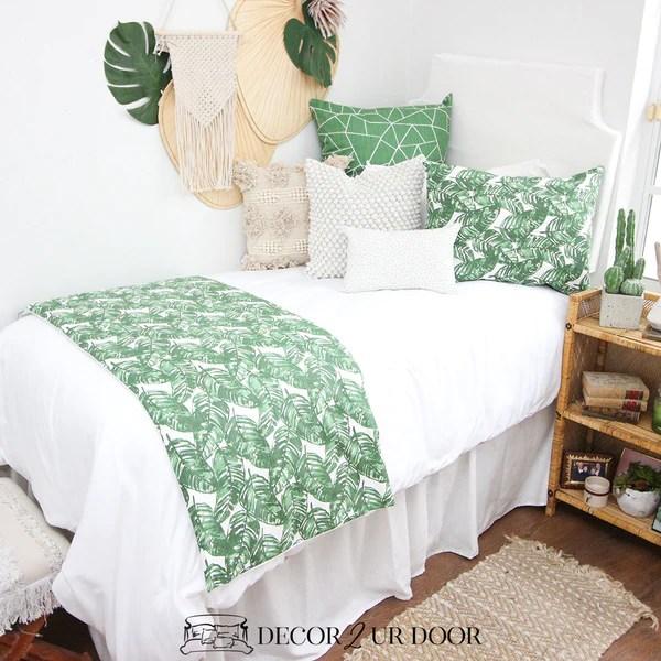 White Green Leaf Dorm Bedding Set Decor 2 Ur Door