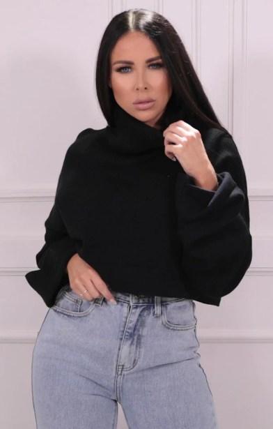 Black Roll Neck Cropped Knitted Jumper - Alva
