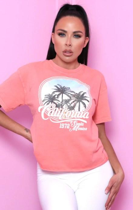 Coral 'California' Graphic Print T-Shirt - Rivka