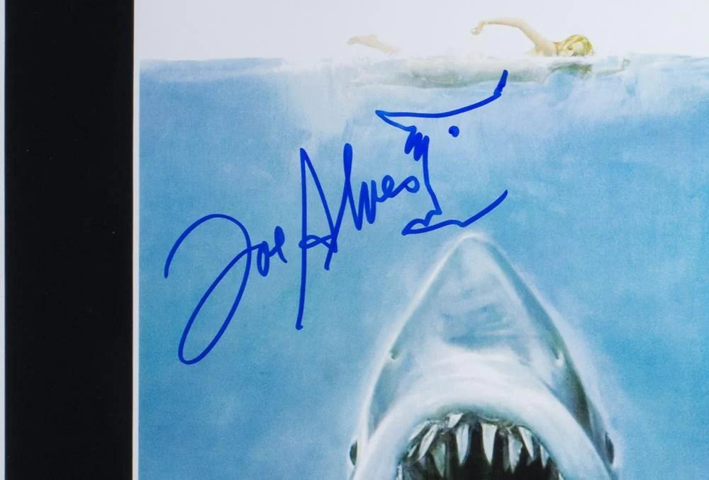 joe alves signed framed 11x14 jaws poster photo jsa itp