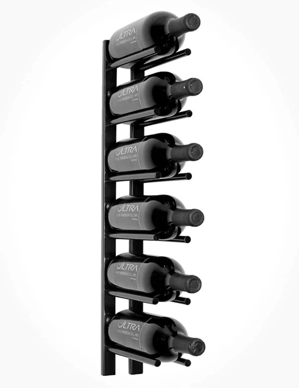 2 ft wall mounted metal rails wine rack 6 bottles cork out