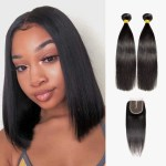 Brooklyn Hair 7a Straight 2 Bundles With 4x4 Lace Closure Look