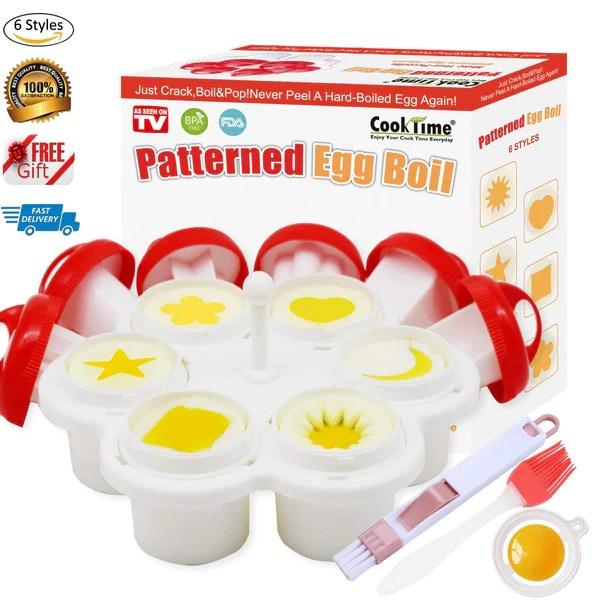 patterned egg cooker mold hard boiled egg maker without the shell 6 shapes yolk mold microwave egg poacher egg holder egg separator oil brush cleaner