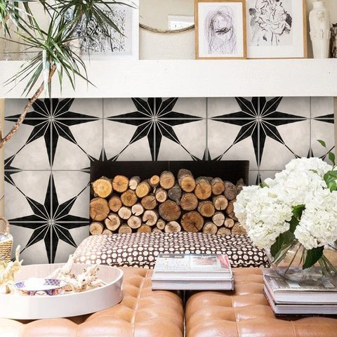 fireplace surround with tile stickers